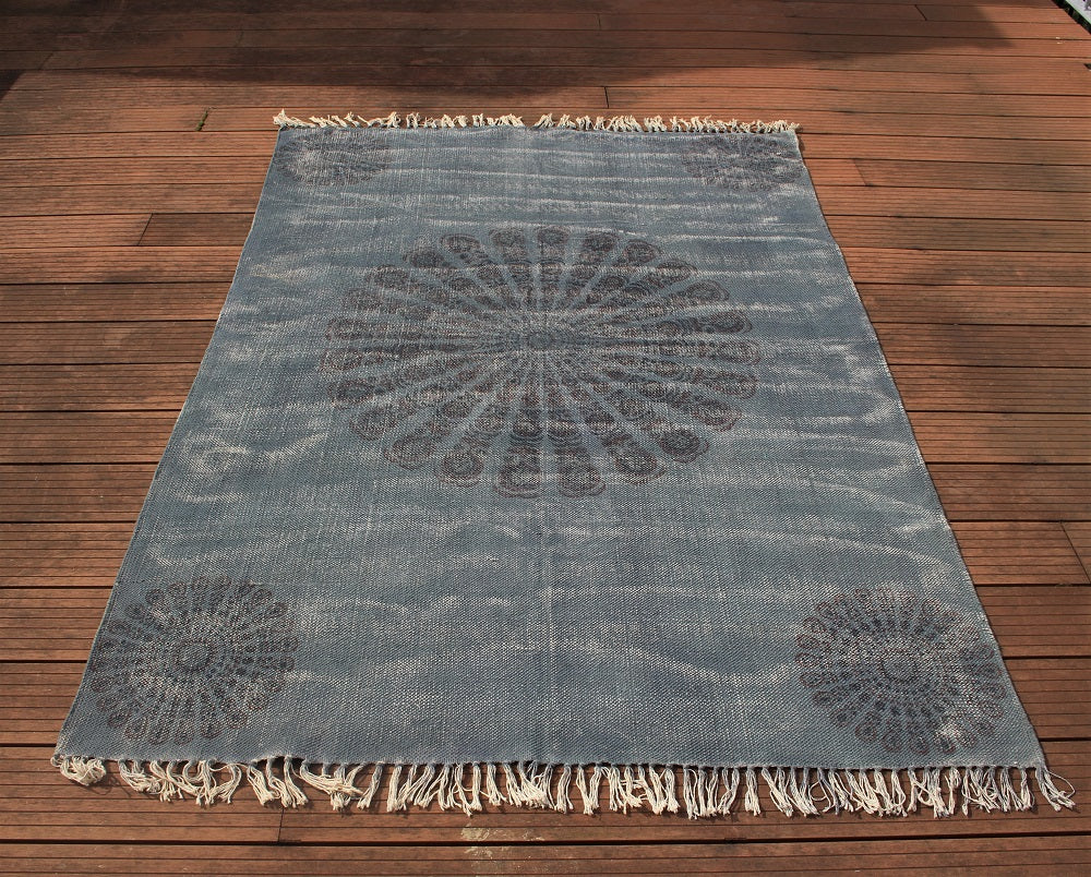 Block Print Rosace Organic Cotton Rug - HomeStreetHome.ie