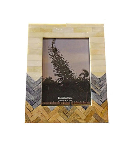 Wide Plain, Grey & Wood Chevron Patterned Photo Frame