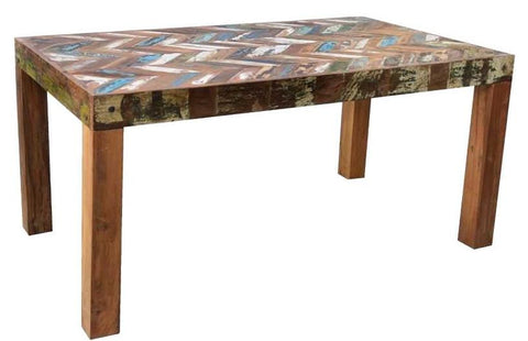 Mixed Colour Reclaimed Wood Dining Table with Chevron pattern and solid Teak Legs