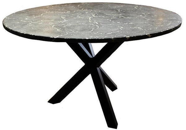 Round Concrete Dining Table with Steel Base - HomeStreetHome.ie