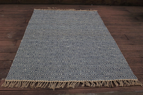 Handmade Diamond Blue Paddle Rug - HomeStreetHome.ie