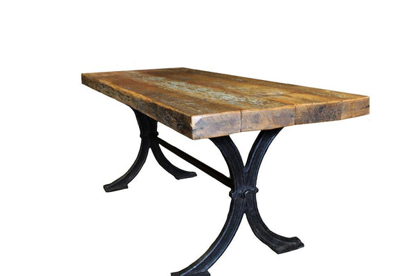 Farmhouse Dining Table with Cast Iron Base - HomeStreetHome.ie