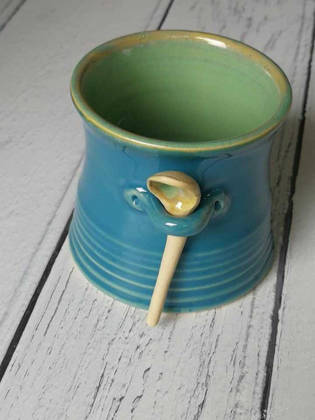 Handcrafted Ceramic Jam Pot with Serving Spoon - HomeStreetHome.ie
