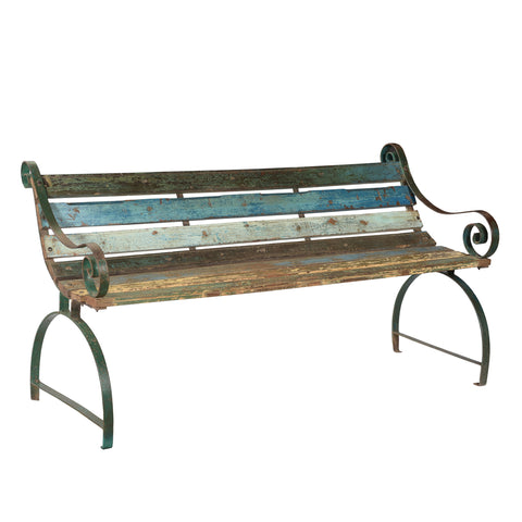Cast Iron and Reclaimed Wood Garden Benchseat