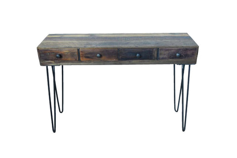 Hairpin Wooden Desk with Four Drawers - HomeStreetHome.ie