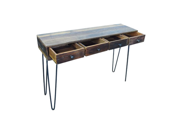 Solid Reclaimed Wood Hairpin Console Desk with Drawers - HomeStreetHome.ie