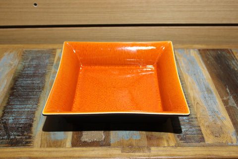 Ceramic Glazed Orange Square Serving Dish - HomeStreetHome.ie