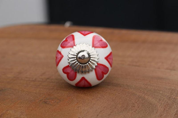 Ceramic Door Knob Silver Fitting - HomeStreetHome.ie