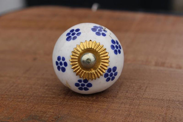 Ceramic Door Knob Gold Fitting - HomeStreetHome.ie