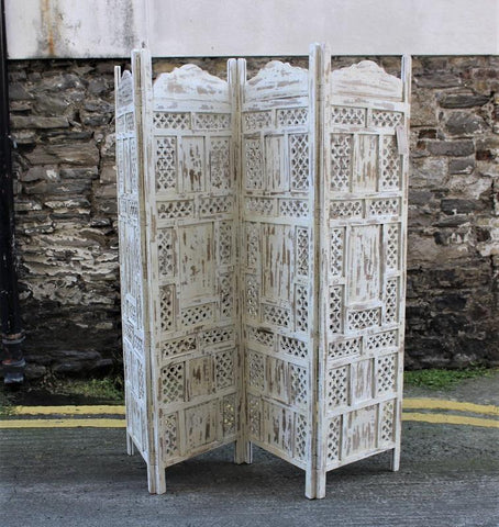 Jali Screen Room Divider Carved Wood Cream - HomeStreetHome.ie