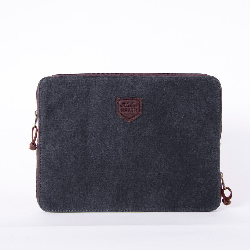 Laptop Sleeve Waxed Canvas Charcoal