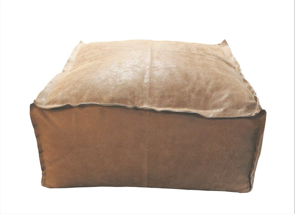 Leather Pouf Ottoman - HomeStreetHome.ie