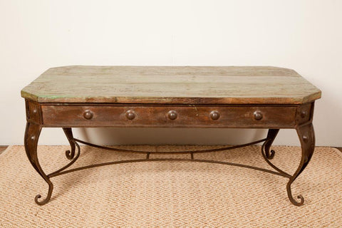 Ornate Cast Iron Coffee Table with Reclaimed Wood, Coffee Tables, Dublin Furniture