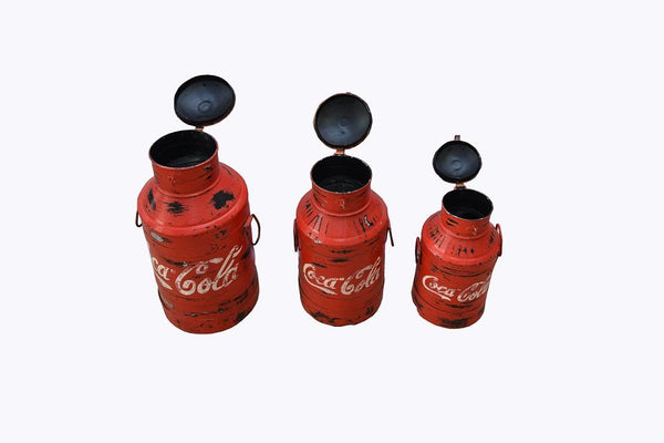 Vintage Milk Container with Handpainted CocaCola - HomeStreetHome.ie