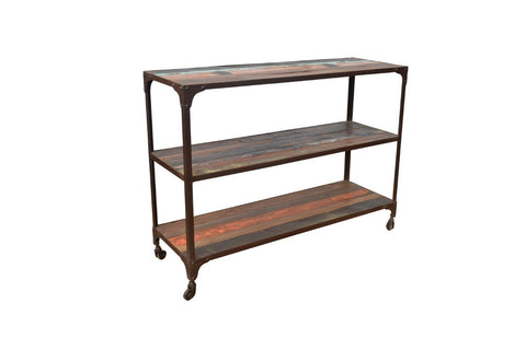 Industrial Reclaimed wood & metal 3 shelves on wheels