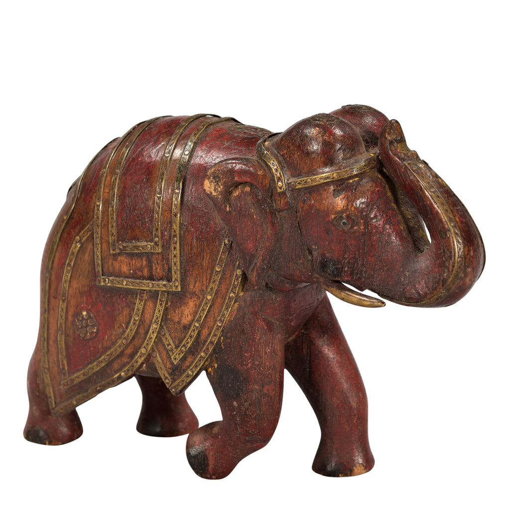 Handpainted & Brass Wood Carved Elephant