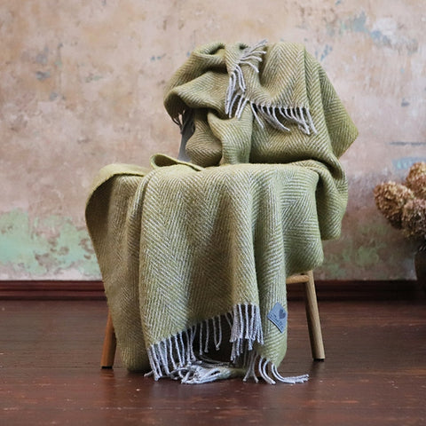 Herringbone Wool Throw Blanket Mustard - HomeStreetHome.ie
