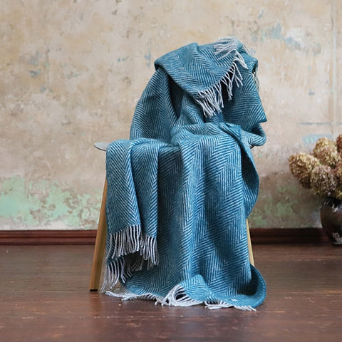 Herringbone Wool Throw Blanket Turquoise - HomeStreetHome.ie