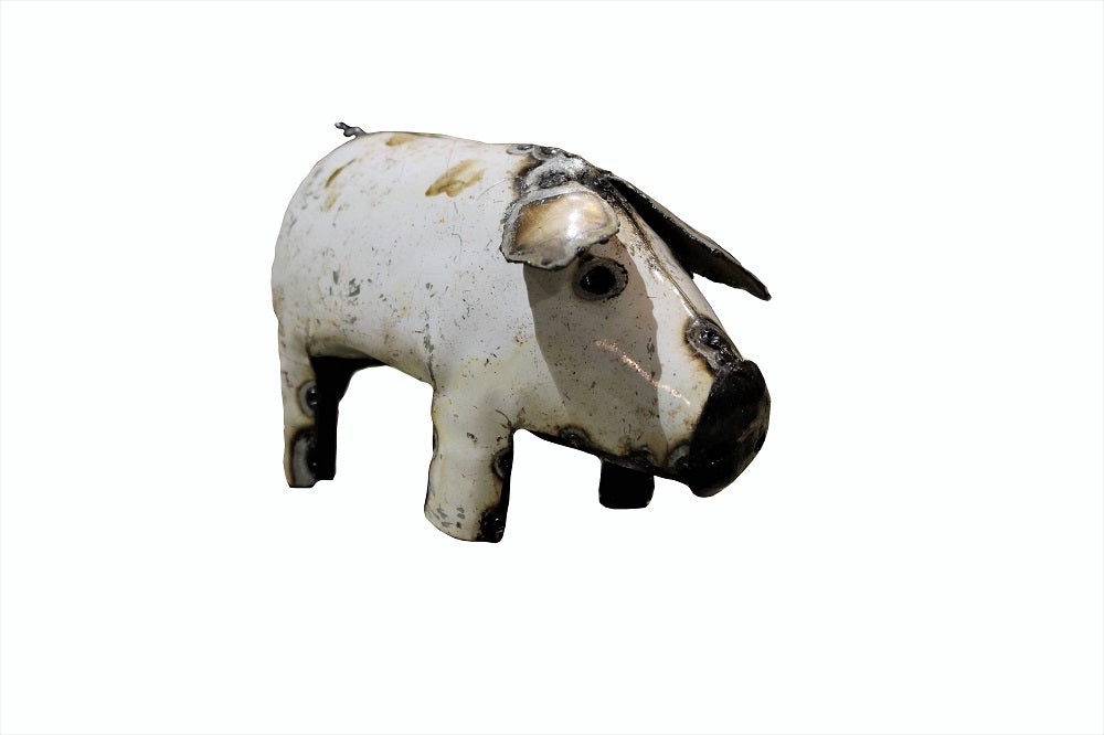 Small Recycled Metal Pig - HomeStreetHome.ie