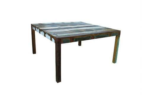 Square Sand Reclaimed Wood Dining Table