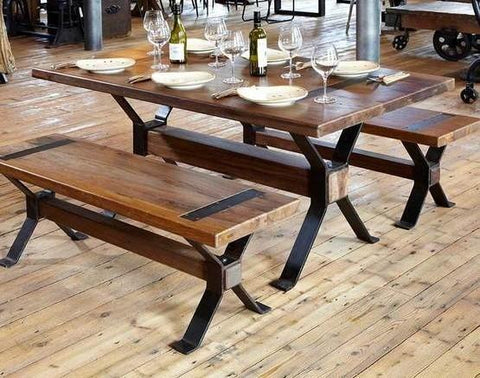 Rustic Style Dining Room Set of Table with Dining Bench