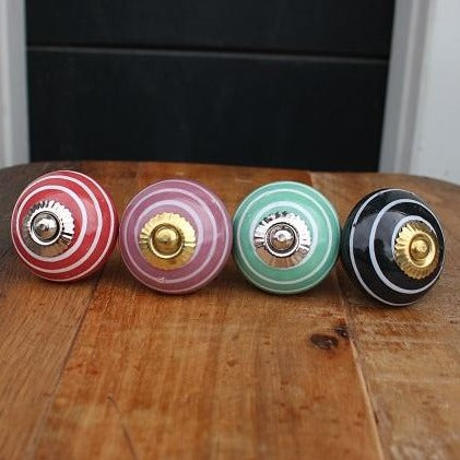 Multi Coloured Stripe Ceramic Knob