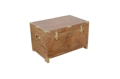 Antique Wood Trunk With Brass Details & Compartments