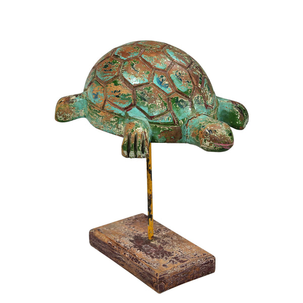 Handcarved Wood Turtle On Display Stand