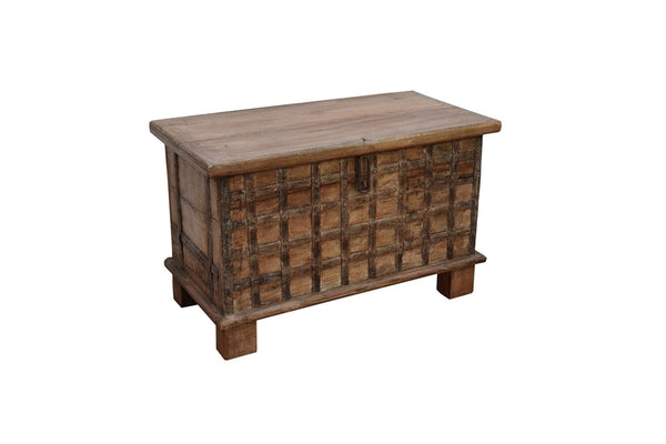 Traditional Teak Storage Box with embossed with Ornate Metal Casing.