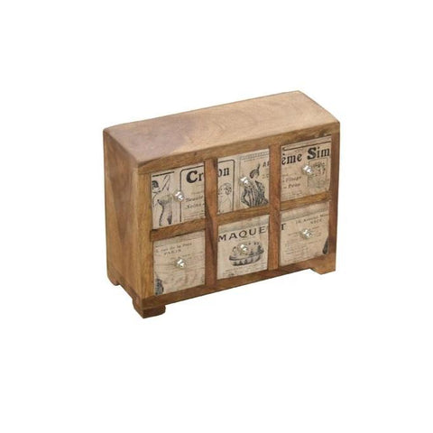 Handmade Wood Storage Box with 6 Vintage Print Drawers