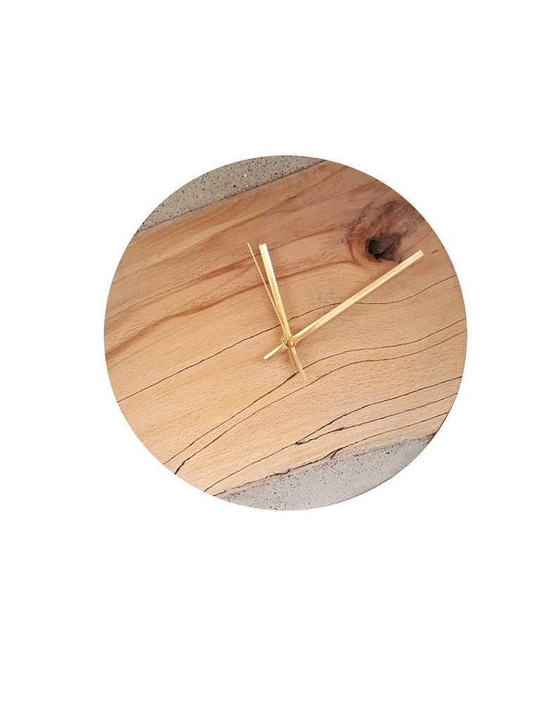 Rowan Beg Round Wall Clock Spalted Beechwood & Concrete