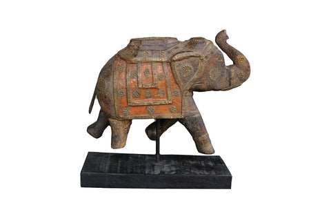 Antique Wood & Brass Elephant - HomeStreetHome.ie