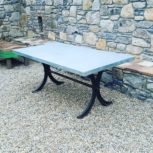 Zinc Dining Table with Cast Iron Base - HomeStreetHome.ie