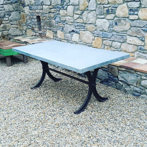 Handcrafted Outdoor Dining Table with Zinc Table Top on Cast Iron Base