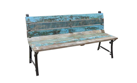 Reclaimed Wood and Cast Iron Outdoor Garden  Bench - HomeStreetHome.ie