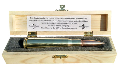 .50 caliber Bullet pen in Wood Gift Box - Brass Honcho