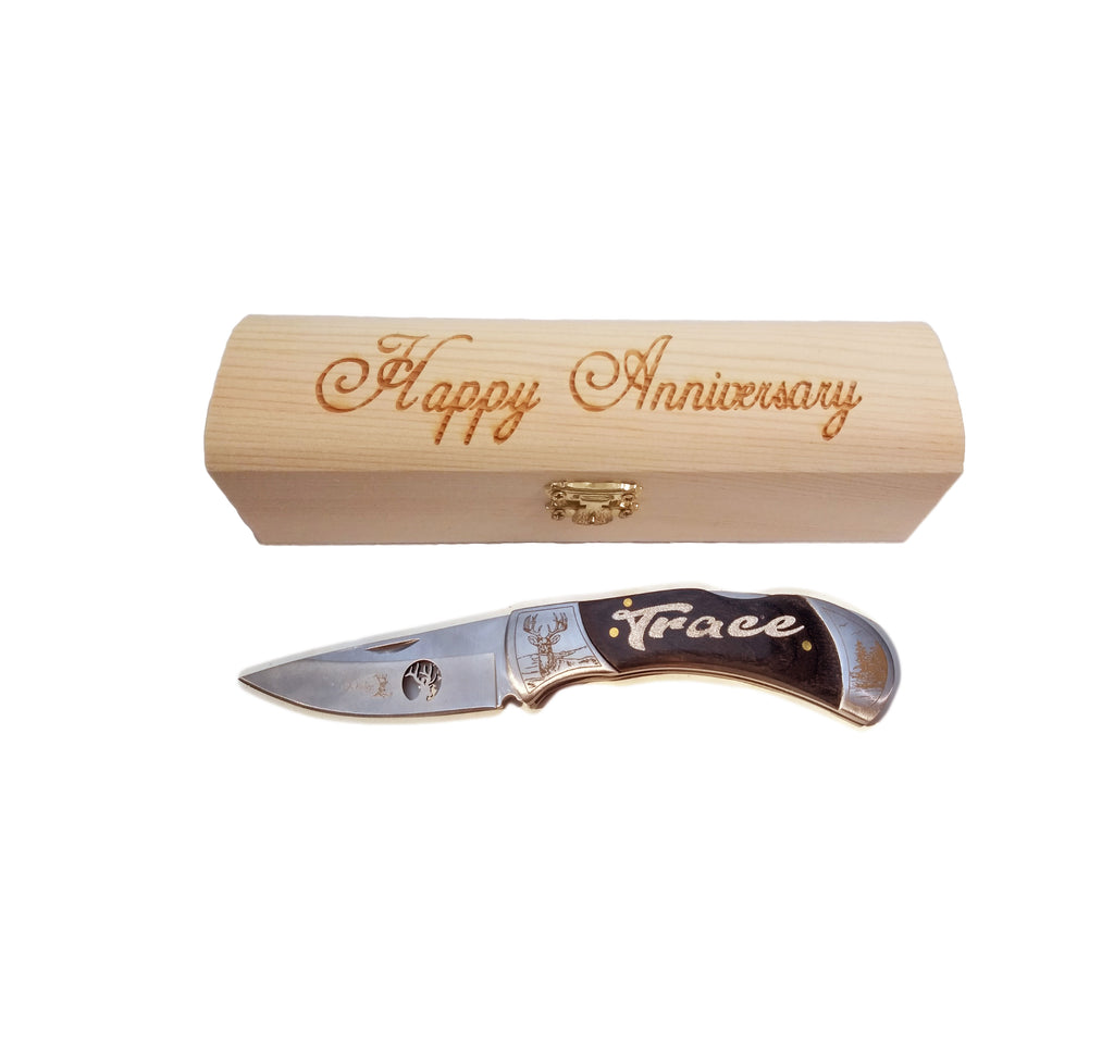Men S Anniversary Gift Personalized Pocket Knife And Gift Box Bear Or Deer Knife