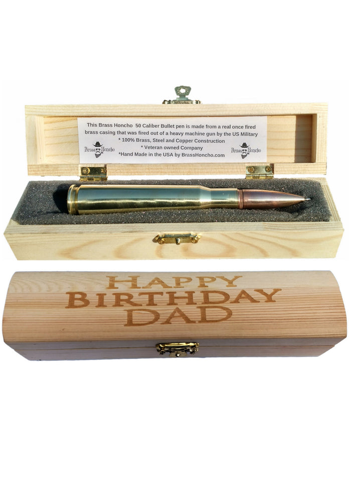 Birthday Gift for Dad .50 caliber BMG Bullet Pen in Engraved Wood Gift Box | Happy Birthday Dad | Retractable Pen| Bullet Gifts for Men
