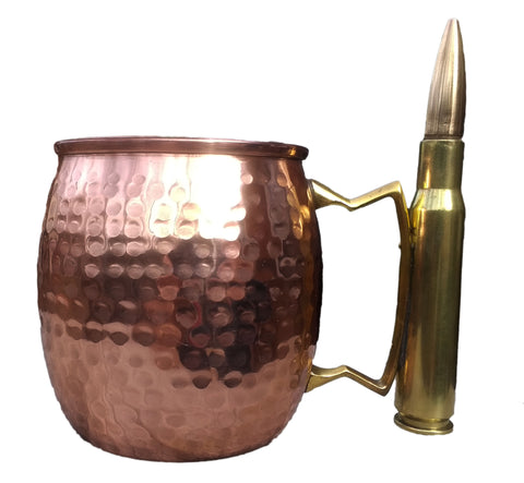 The Full Metal Mule - Moscow Mule Mug With A Real Bullet Handle, 18 oz - Brass Honcho