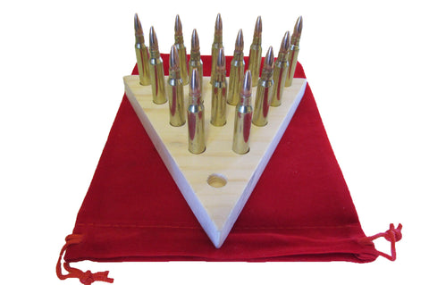 Original Triangle Peg Bullet Board Game with Bullets - Brass Honcho Great Great for Men or Women