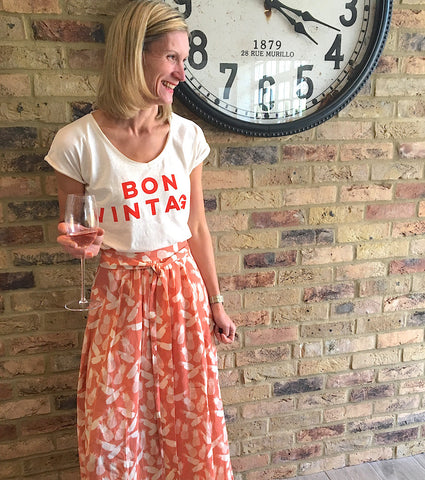 Organic cotton slub Tshirt | Bon Vintage slogan | FWP BY The French Wine Project