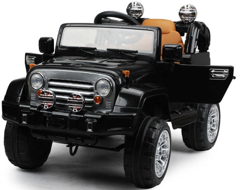 12V Black Jeep ride on electric car with remote control