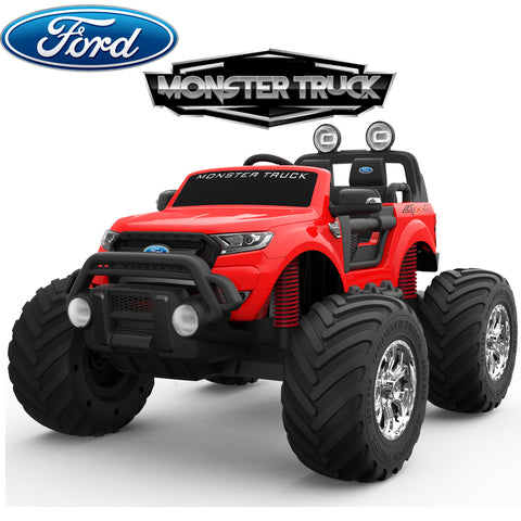 4V Ford Monster truck kids ride on car (red) ride on car, 4 Wheel drive and Rubber tyres