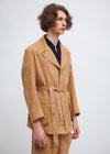 Wrap Coat | Bi-stretch Suede