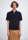 Open Neck Polo | Navy Crater Pile
