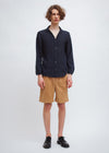 Open Collar Shirt | Navy Poly Kersey