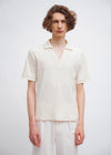 Open Neck Polo | Ivory Crater Pile