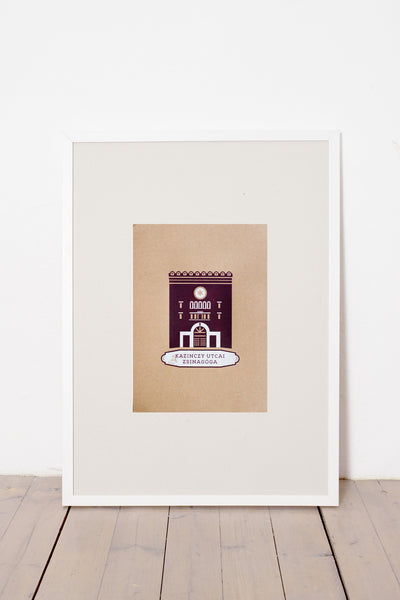KAZINCZY STREET SYNAGOGUE PRINT - BROWN