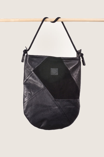 U-SHAPE PATCHWORK LEATHER SHOULDER BAG