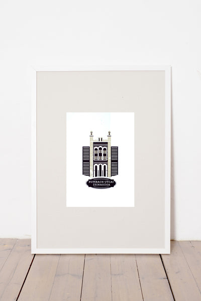 RUMBACH STREET SYNAGOGUE PRINT - WHITE